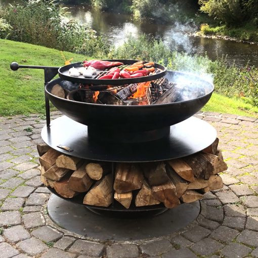 Ring Of Logs 90cm with Swing Arm BBQ Rack