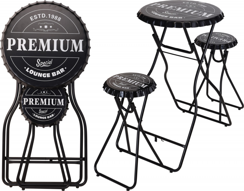 Foldable Bar Table with Stools